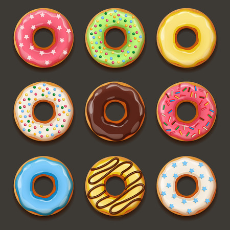 Set of tasty donuts. EPS 10 file Vectores