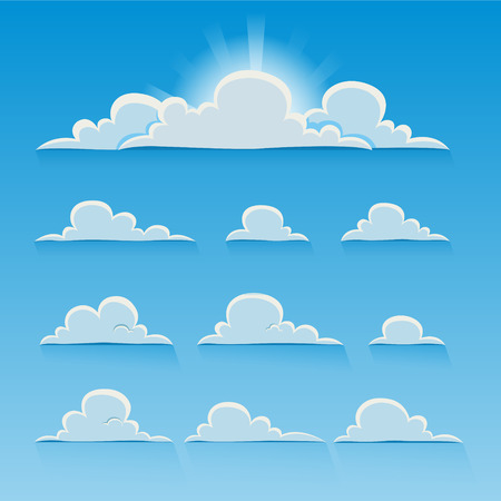 blue sky clouds: Set of cartoon vector clouds. EPS 10 file