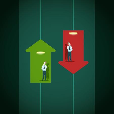 Verhogen en de val van het bedrijfsleven indicatoren. Carrière lift concept.EPS 1o bestand