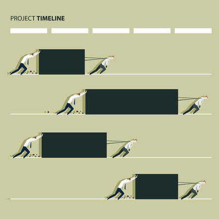 heavy load: Project production time line concept, manager pulling a heavy load. EPS 10 file Illustration