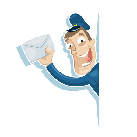 Vector illustration of postman with letter