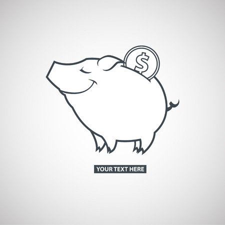 Piggy bank with a coin icon on a gray scale gradient background Vector