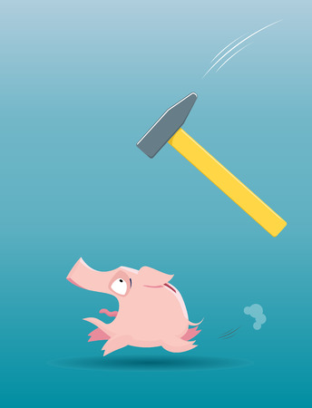 home finances: Vector illustration of  Piggy bank running from the falling hammer