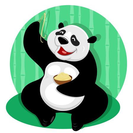 aliments droles: Vector illustration de l'ours panda avec des nouilles