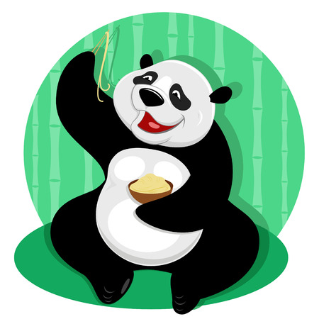 chinese dinner: Vector illustration of Panda bear with noodles