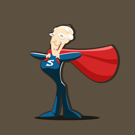 granddad: Old man grandfather superhero isolated