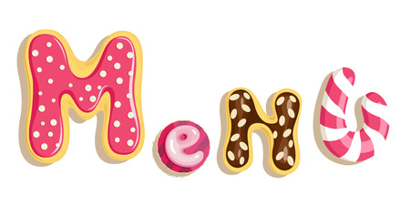 eclair: Vector illustration of Menu lettering in shape of cakes
