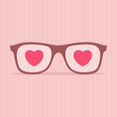 specs: Love glasses - Valentines day illustration. EPS 10 file
