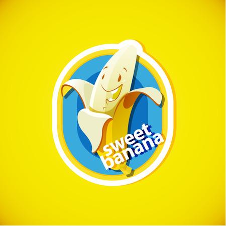 banana caricatura: Aislado etiqueta vector de plátano
