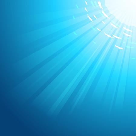 태양 광선 벡터 수중 깊은 바다 배경은 물을 통해 전달합니다. 10 EPS 파일. 일러스트