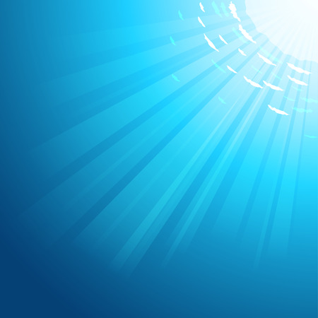 Vector Underwater deep sea background with the sun rays pass through the water. EPS 10 file. Иллюстрация