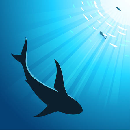 Vector illustratiuon of underwater deep sea background with diver and shark