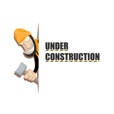 temporary workers: Vector illustration of worker with hammer