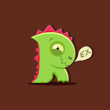 starve: Vector dinosaur rex in cute kids style isolated. Letter R. Illustration