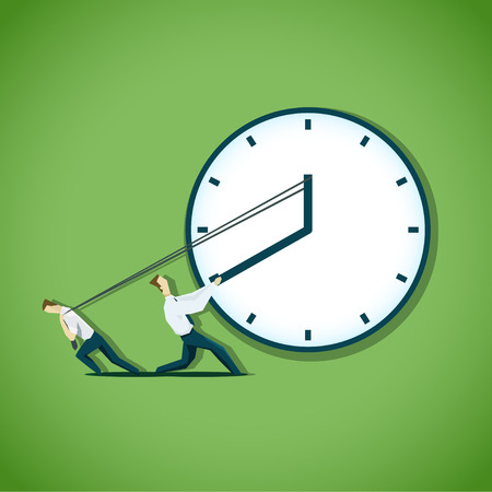 back in time: Two businessman are trying to slow the time. EPS 10 file Illustration