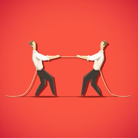 la union hace la fuerza: Dos hombre de negocios están tirando de la cuerda. EPS 10 archivos