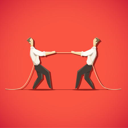 pulling rope: Two Businessman are pulling the rope. EPS 10 file Illustration