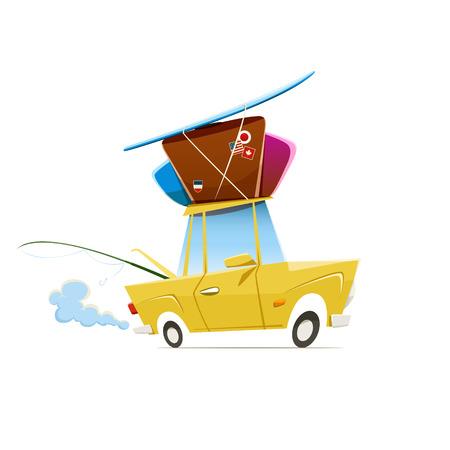 carro caricatura: Ilustración vectorial de un coche cargado pesado que viaja a las vacaciones. 10 EPS archivo. Vectores