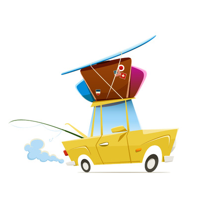 day trip: Vector illustration of heavy loaded car which is traveling to vacation. EPS 10 file.