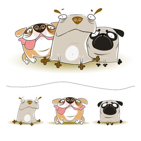 Vector illustration of Three cute dogs