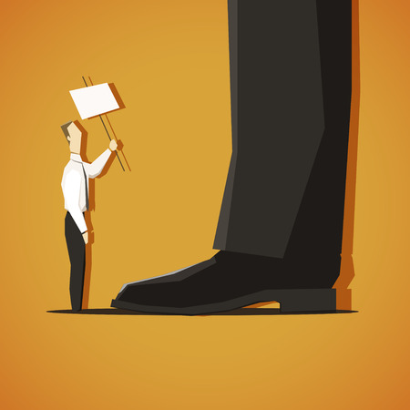 bank office: The employee asking the big employer. EPS 10 file Illustration