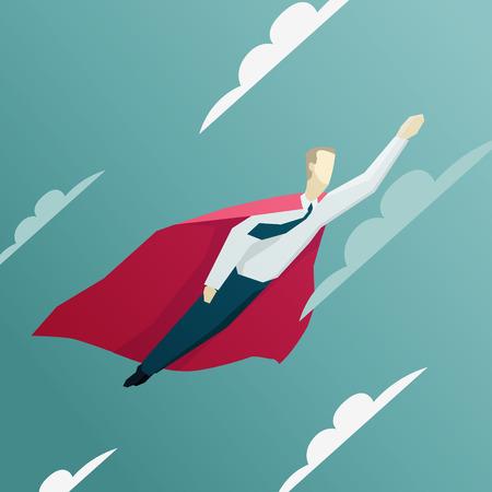 Vector illustration of Superhero businessman is flying. EPS 10 file Vettoriali