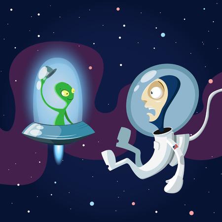 zero gravity: Vector illustration of spacen meeting alien in space Illustration
