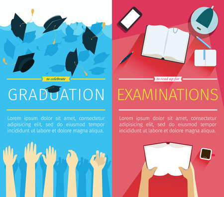 Set of two vector education banners. Preparing for examinations banner with hands which is holding book. Celebrating a graduation banner with student hands which is throwing up square academic caps. EPS 10 file.