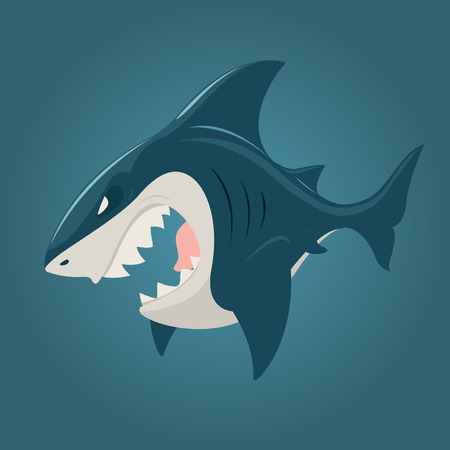 shark cartoon: Caricatura de tiburón vista lateral. EPS 10 archivos Vectores