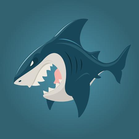 Cartoon shark side view. EPS 10 file Stock Illustratie
