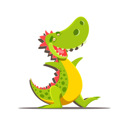 mouth open: Vector illustration of happy cute cartoon dinosaur isolated on white