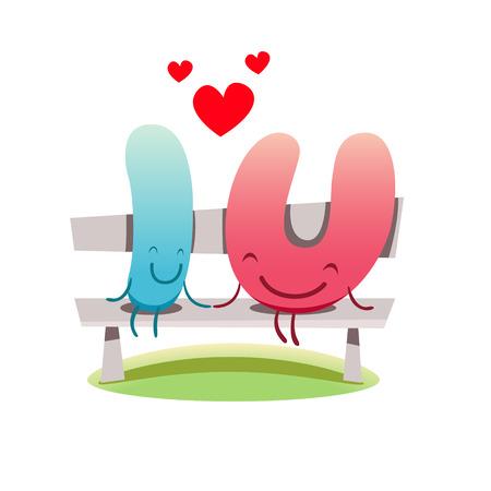 I love You vector cute illustration of love feelings concept. EPS 10 file. Vector