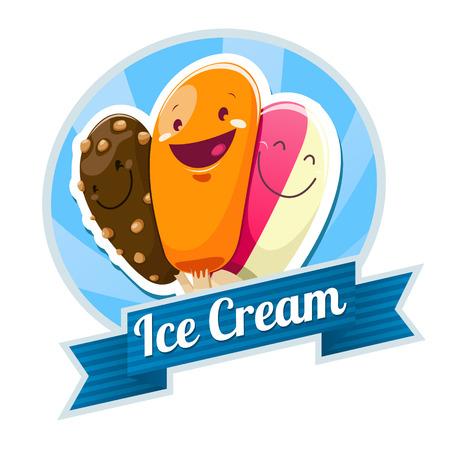 helado de chocolate: Emblema del helado. EPS 10 archivos