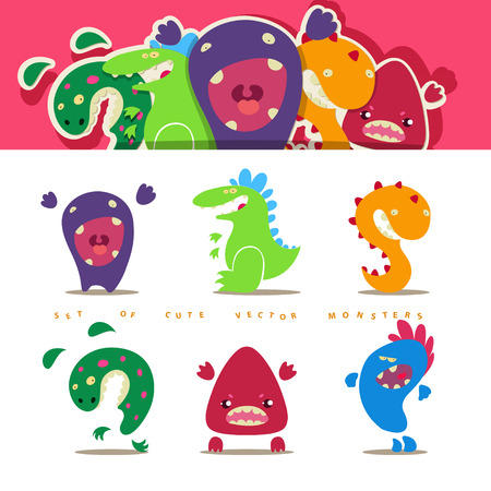 open mouth: Set of cute vector cartoon monsters in kids style. EPS 10 file Illustration