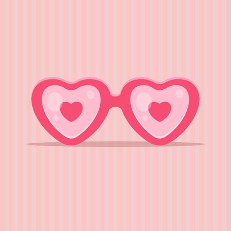 mujer enamorada: Gafas de amor en forma de coraz�n - concepto de d�a de San Valent�n. EPS 10 archivos