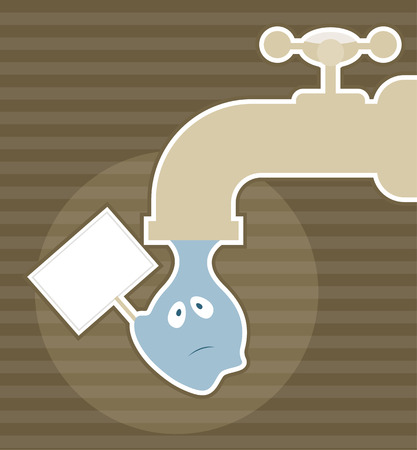 tap water: Vector illustration of Save water concept with drop of water and faucet