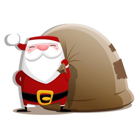 grey hair: Santa Claus with sack. EPS 10 file