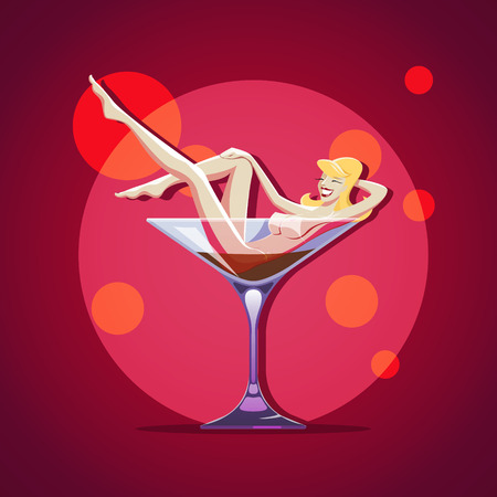 Naked stripper girl in a martini glass. EPS 10 file