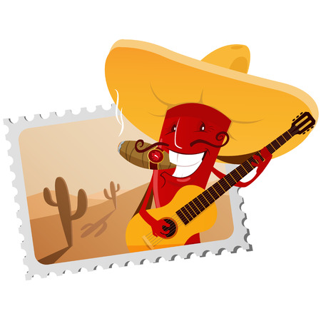 chili: Postage stamp with funny chili pepper. EPS 10 file