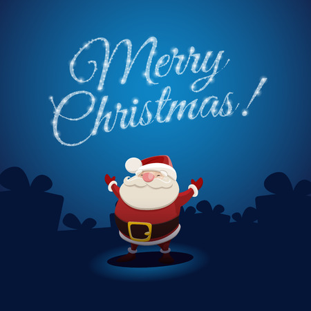 De Kerstman en Merry Christmas. EPS-10-bestand Stock Illustratie