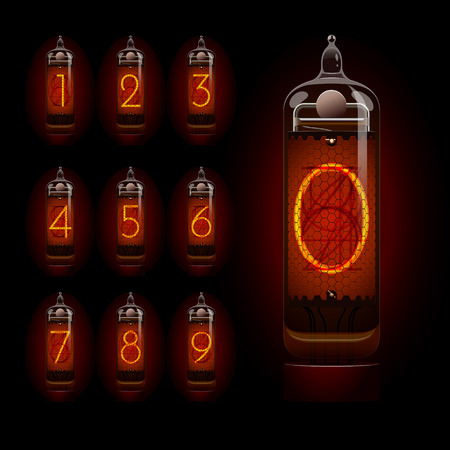 Nixie tube with digits. EPS 10 file Vector