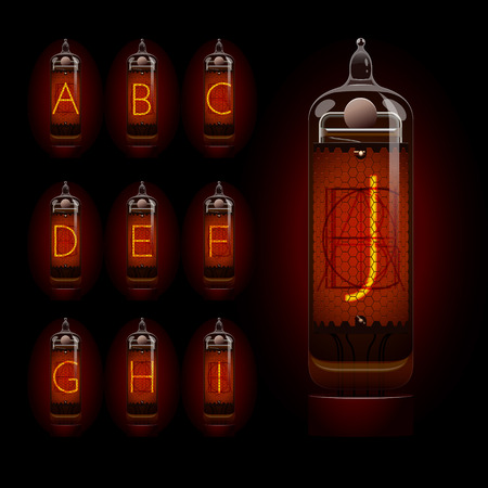 Nixie tube alphabet a to j. EPS 10 file Illustration