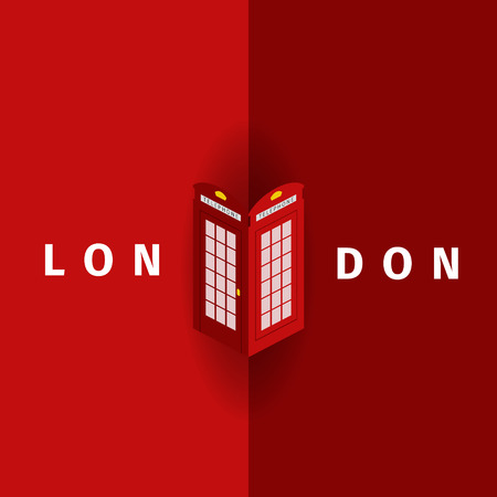 telephone booth: London Vector poster with traditional telephone booth. EPS 10 file