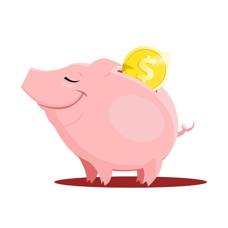 Vector illustration of Piggy bank with a coin Vettoriali