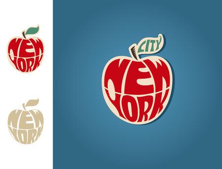 manzana: Pegatina ciudad de Nueva York. EPS 10 archivos Vectores