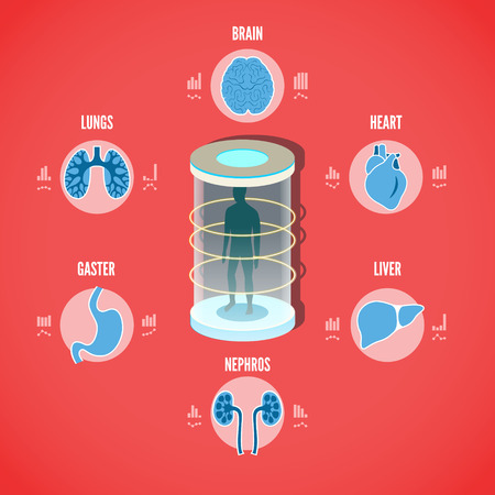 ct scan: Vector illustration of Medical health screening concept with icons of internals. EPS 10 file.