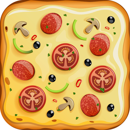 italian sausage: Icon with italian pizza with sausage, tomato and mushrooms icon. EPS 10 file Illustration