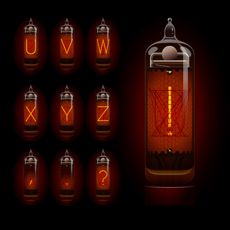 Nixie tube alphabet u to z. EPS 10 file Illustration