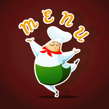 chef s hat: Menu card template with dancing chief cook. EPS 10 file.