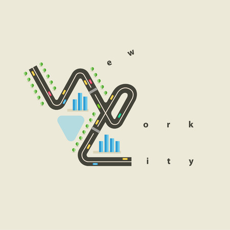 pond life: New York City emblem design in flat style